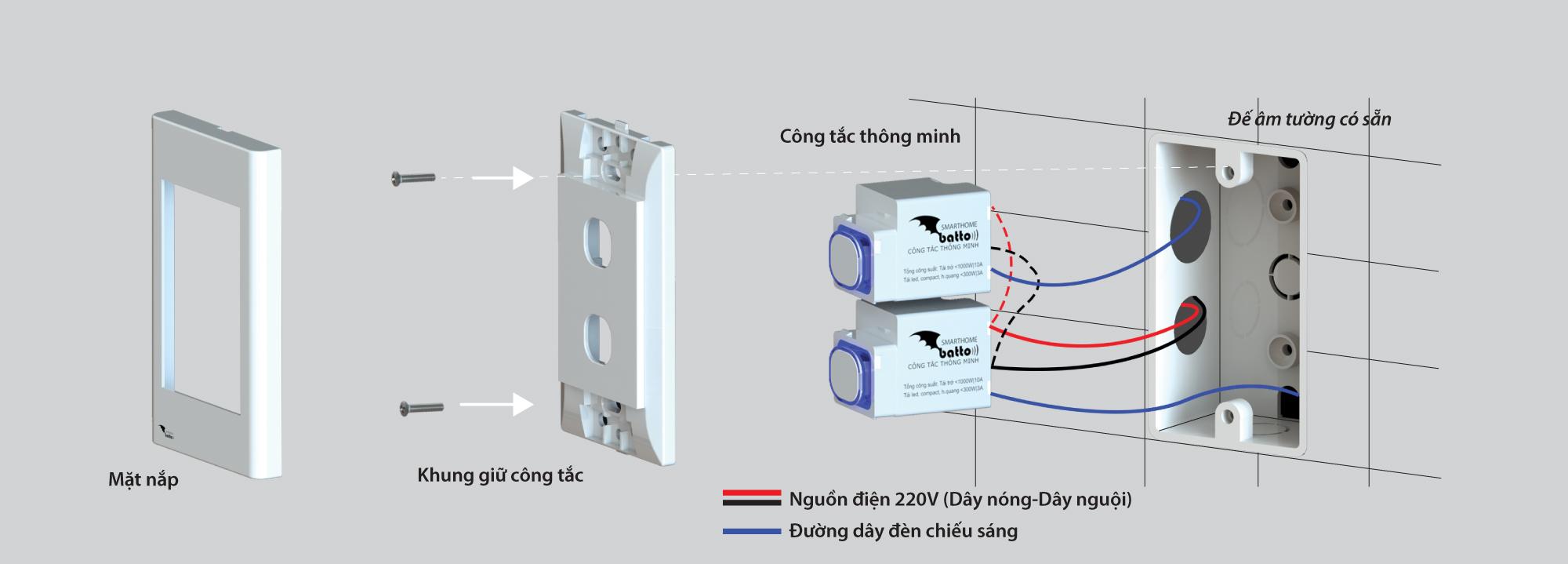 Hướng dẫn lắp đặt công tắc thông minh SmartX (Lắp dọc)